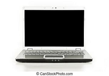 blanco, laptop/notebook, computadora, aislado