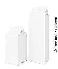 blanco, leche, paquetes, aislado, blanco, fondo.