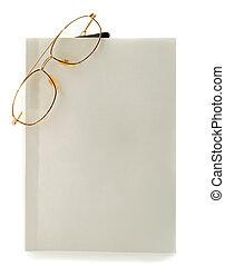 blanco, lentes, libro, blanco