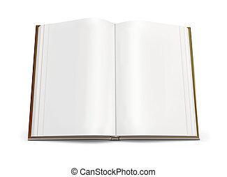 blanco, libro, abierto, páginas