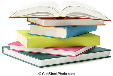 blanco, libros, aislado
