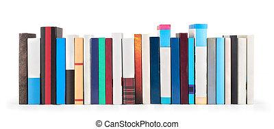 blanco, libros, aislado, plano de fondo, pila