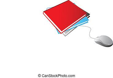 blanco, libros, ratón, blanco