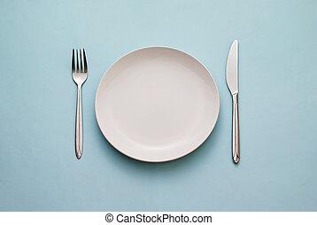 blanco, limpio, placa, cuchillo, vacío, tenedor