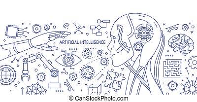 blanco, lineart, vector, bandera, horizontal, style., ilustración, robot, integrado, intelligence., robótico, circuitos, dispositivos, contorno, fondo., monocromo, brazo, hola-hi-tech, dibujado, líneas, artificial