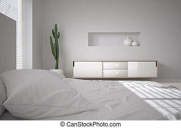 blanco, mínimo, dormitorio