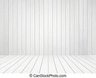 blanco, madera, pared, y, piso de madera, plano de fondo