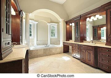 blanco, maestro, tina, columnas, baño