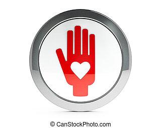 blanco, mano, con, amor, icono, con, toque de luz