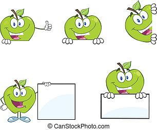 blanco, manzanas verdes, señal