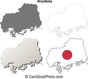 blanco, mapa, conjunto, contorno, hiroshima