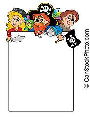 blanco, marco, con, caricatura, piratas