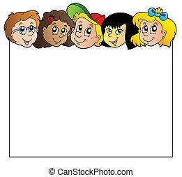 blanco, marco, con, niños, caras