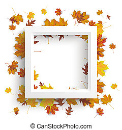 blanco, marco, follaje de otoño
