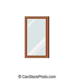 blanco, marco, rectangular, espejo, fondo., de madera, ...