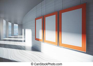 blanco, marcospara cuadros, en, pasillo