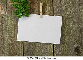 blanco, memorándum, o, menue, espacio, en, madera