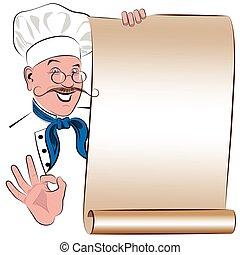 blanco, menú, con, el, imagen, de, un, sonriente, chef