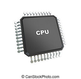 blanco, microchip, aislado, plano de fondo