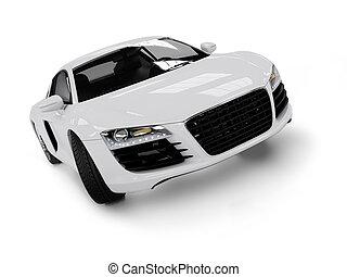 blanco, moderno, coche, aislado, en, negro, fondo.