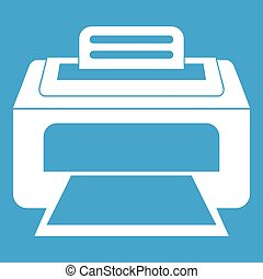 blanco, moderno, impresora láser, icono