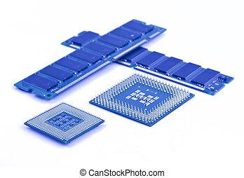 blanco, modules, procesadores, plano de fondo, memoria