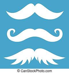 blanco, moustaches, icono