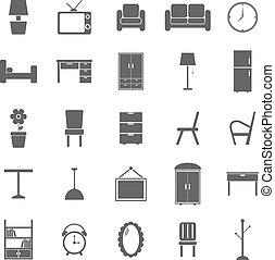 blanco, muebles, plano de fondo, iconos