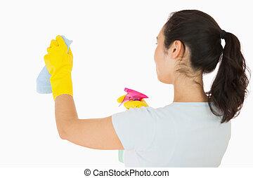blanco, mujer, paredes, limpieza