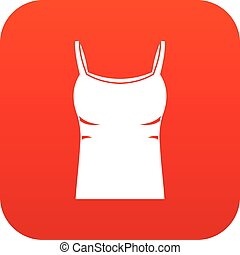 blanco, mujeres, camiseta sin mangas, icono, digital, rojo