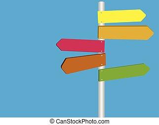 blanco, multi, señal, camino, direccional