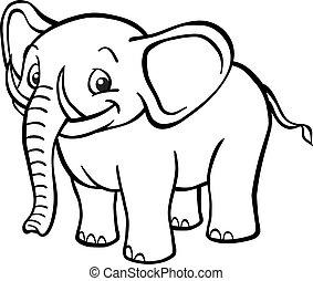 blanco, negro, caricatura, elefante