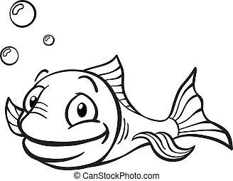 blanco, negro, caricatura, pez