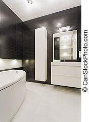 blanco, negro, cuarto de baño