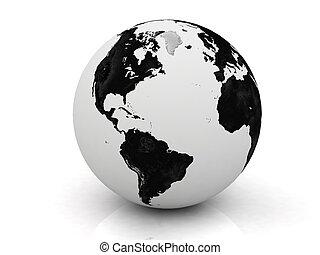 blanco, negro, globo