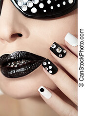 blanco, negro, manicura