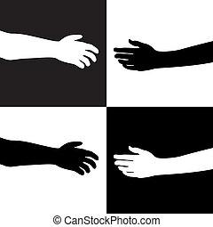 blanco, negro, manos