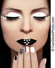 blanco, negro, Maquillaje