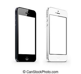 blanco, negro, perspectiva, smarphone