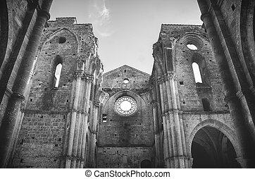 blanco, negro, roofless, iglesia