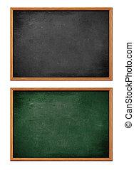 blanco, negro, tabla, con, marco de madera