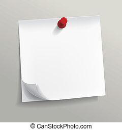 blanco, note papel, con, alfiler