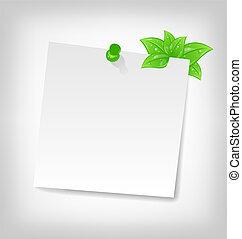blanco, note papel, con, hojas verdes, y, espacio, para, su, tex
