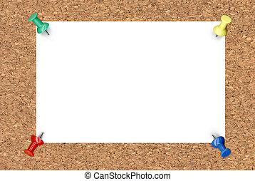 blanco, note papel, en, tablero del corcho