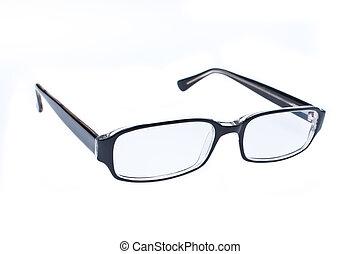 blanco, ojo, aislado, plano de fondo, anteojos