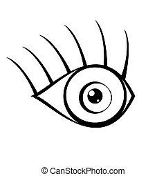 blanco, ojo, plano de fondo, icono