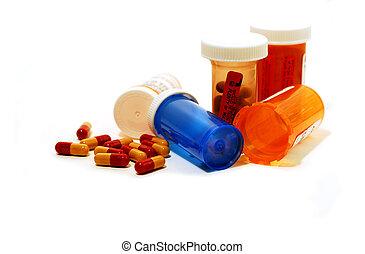 blanco, píldoras, contenedores