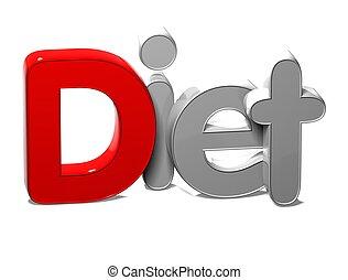 blanco, palabra, plano de fondo, dieta, 3d