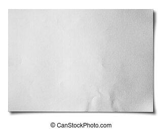 blanco, papel arrugado, horizontal
