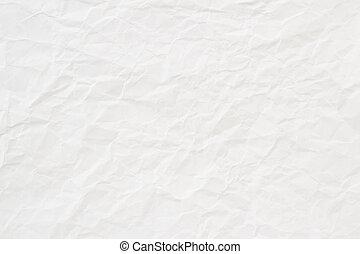 blanco, papel arrugado, textura, o, plano de fondo